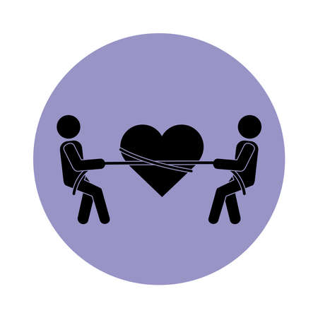 together people heart tied ribbon pictogram block silhouette icon vector illustration