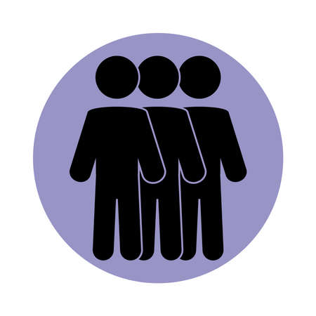 together, people teamwork society pictogram, block silhouette icon vector illustration