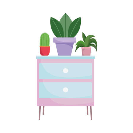 furniture table drawers and potted plants isolated design white background vector illustration Ilustración de vector