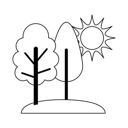 landscape nature trees grass and sun cartoon line icon style vector illustration