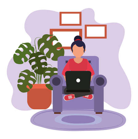 working at home, woman on chair crossed legs with laptop, people at home in quarantine vector illustration Illustration