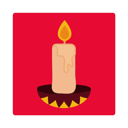 day of the dead, candle in chandelier traditional, mexican celebration icon block and flat vector illustration 일러스트