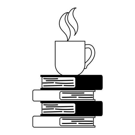 coffee cup on stack of books isolated design white background vector illustration line style 向量圖像