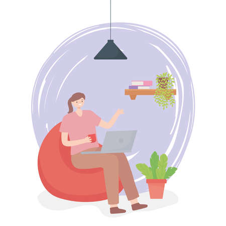 working woman in chair with laptop and coffee cup office space vector illustration Ilustracja