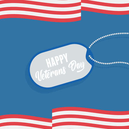 happy veterans day, US military armed forces soldier, tag id military american flag vector illustration