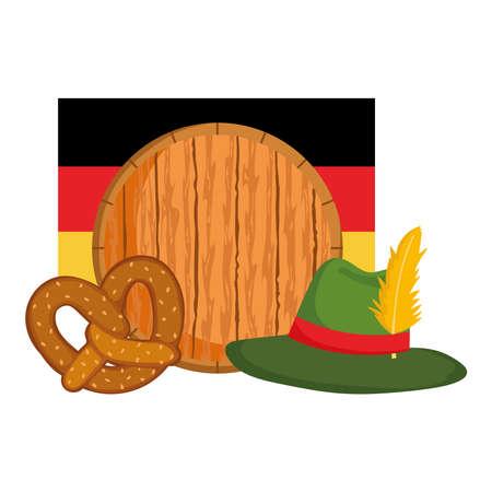 oktoberfest festival, barrel hat flag and pretzel, celebration germany traditional vector illustration
