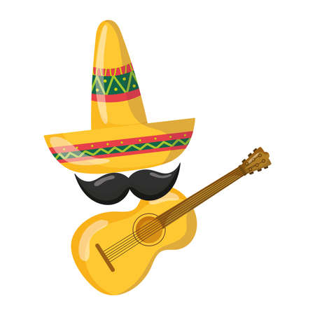 mexican independence day, hat guitar mustache decoration, viva mexico is celebrated on september vector illustration