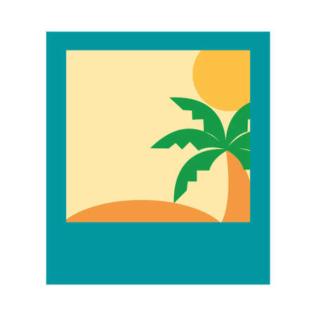 summer vacation travel, picture tropical landscape, flat icon style vector illustration Ilustração