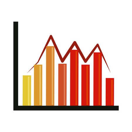 data analysis, financial business graph chart fluctuation vector illustration flat icon