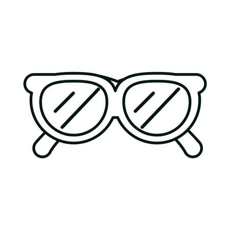 summer vacation travel, sunglasses accessory fashion, linear icon style vector illustration
