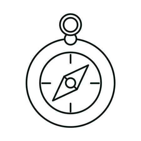 summer vacation travel, location destination compass equipment linear icon style vector illustration