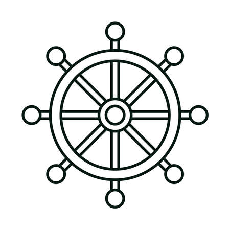 ship helm steering wheel linear icon style vector illustration