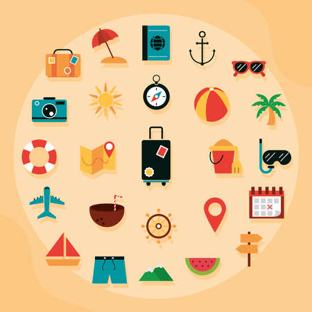 summer vacation travel tourism set flat icons style vector illustration