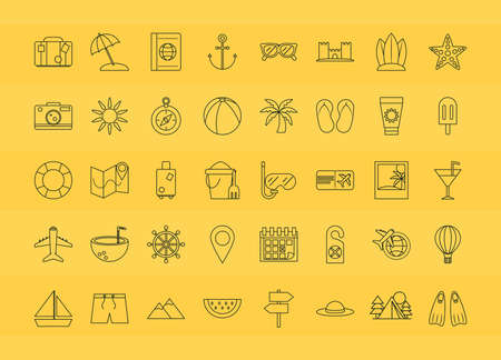 summer vacation travel, season tourism relaxing pack icons linear style vector illustration Ilustração