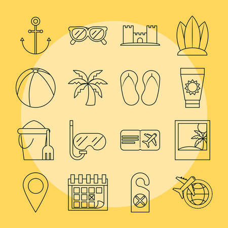 summer vacation travel, tourism recreation set icons included ball palm snorkel fruit and ticket, linear style vector illustration Ilustração