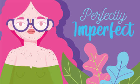 perfectly imperfect, young woman with glasses and freckles all her body vector illustration