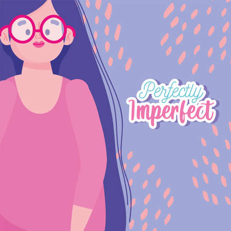 perfectly imperfect, girl with glasses and long hair cartoon vector illustration  イラスト・ベクター素材