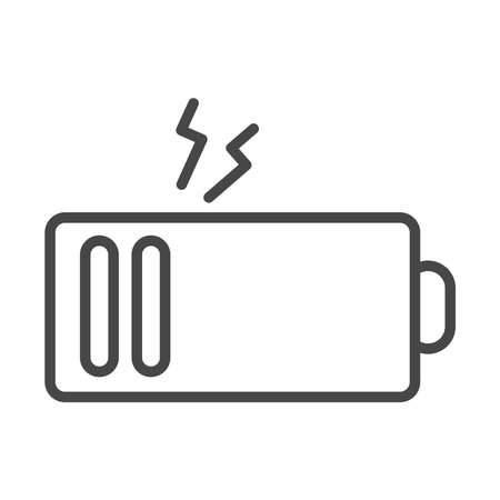 low charger battery power electricity vector illustration linear icon style