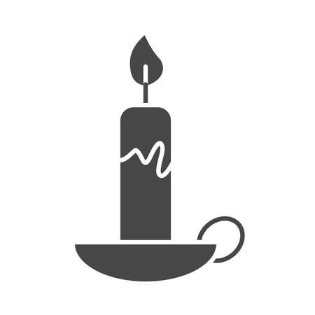 burning candle in the chandelier decoration silhouette icon style vector illustration