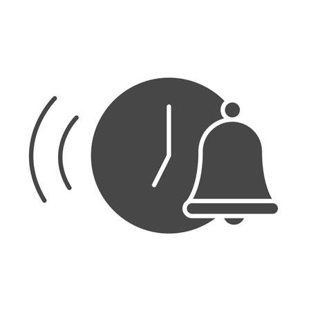 wake up clock bell time vector illustration silhouette icon style