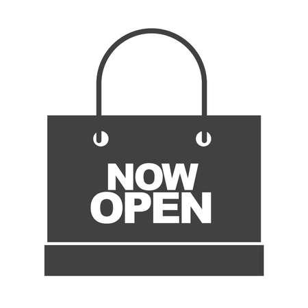 shopping bag now open message marketing branding vector illustration silhouette icon Ilustración de vector