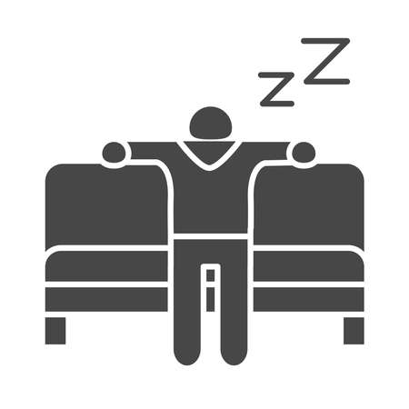 insomnia, character sleeping in the sofa vector illustration silhouette icon style