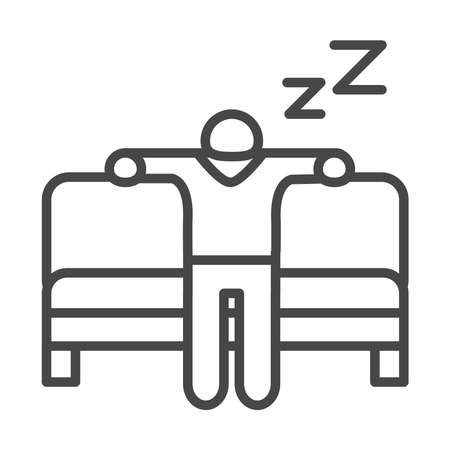 insomnia, character sleeping in the sofa vector illustration linear icon style