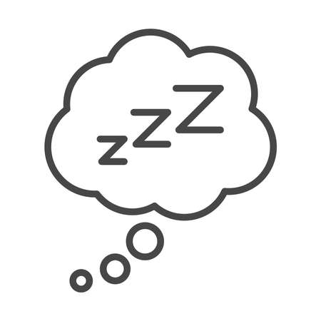insomnia, cloud sleeping zzzz letters vector illustration linear icon style