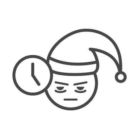 insomnia, character face sleepless time vector illustration linear icon style