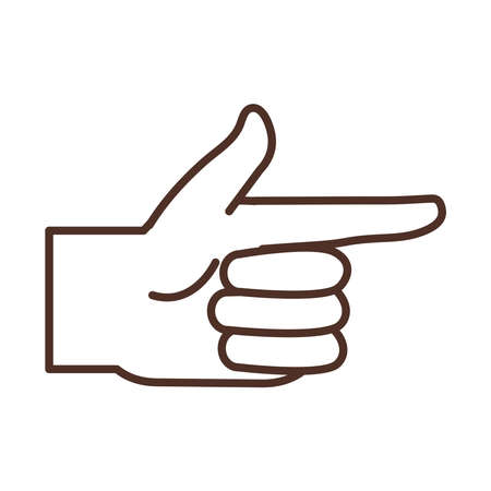 sign language hand gesture indicating right direction vector illustration line icon