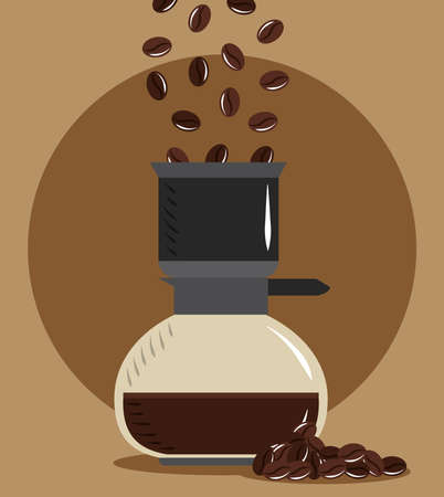 coffee brewing, pouring bean in maker drink hot vector illustration 向量圖像