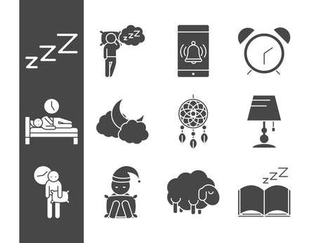 insomnia sleep problems disorder set vector illustration silhouette icon style