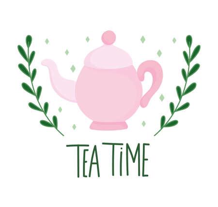 tea time pink teapot branches nature, kitchen ceramic drinkware, floral design cartoon vector illustration