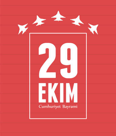 29 ekim Cumhuriyet Bayrami kutlu olsun, turkey republic day, airplanes nation red background card vector illustration
