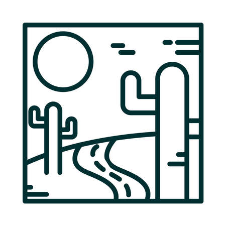 landscape desert road cactus sand sun nature scene line icon style vector illustration