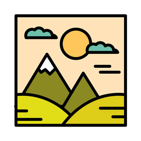 landscape mountains hills sun clouds sky cartoon line and fill style vector illustration