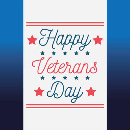 happy veterans day, lettering greeting card blue background vector illustration
