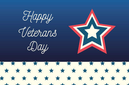 happy veterans day, lettering star and starry border decoration vector illustration