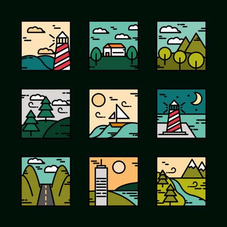 landscapes icons set, nature mountains summer night ocean road line and fill style vector illustration