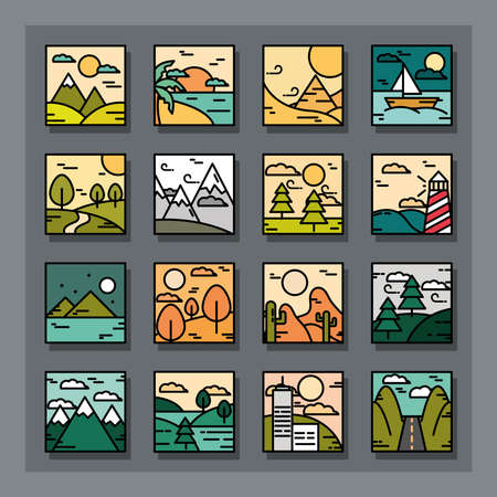landscapes icons collection, nature mountains desert tropical sea boat lighthouse line and fill style vector illustration