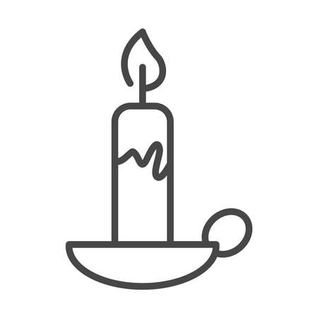 burning candle in the chandelier decoration linear icon style vector illustration