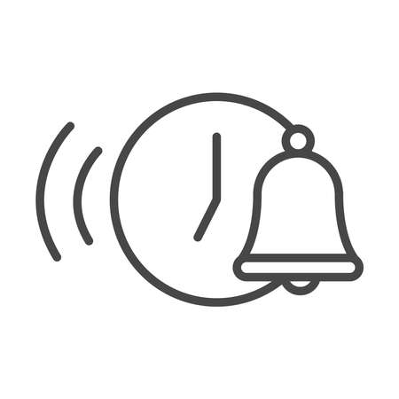 wake up clock bell time vector illustration linear icon style