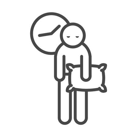 insomnia, person sleepless with pillow in hand vector illustration linear icon style