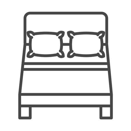 top view double bed with pillows vector illustration linear icon style