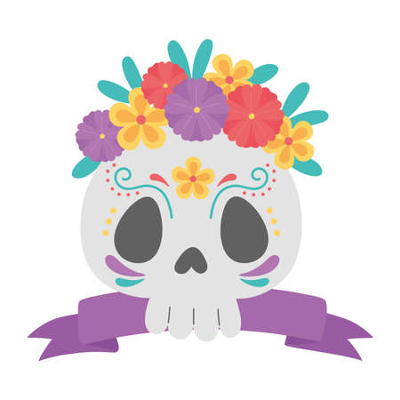 day of the dead, floral skull flowers and ribbon mexican celebration vector illustration 免版税图像 - 156352665