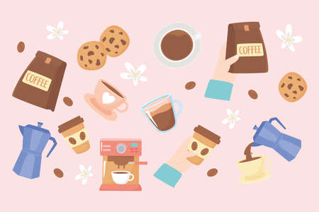 international day of coffee, background cups kettle cookies sugar flowers vector illustration