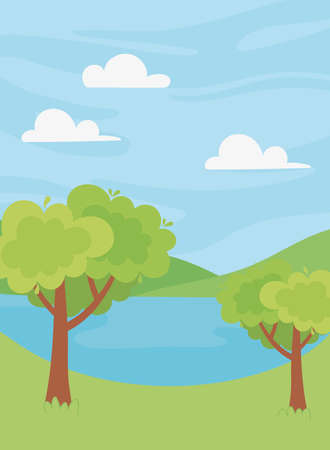 landscape lake trees vegetation hills nature scenery vector illustration
