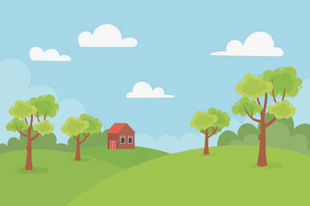 landscape cottage in the hills trees meadow nature sky vector illustration