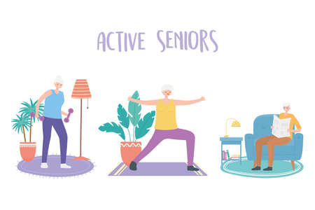 activity seniors, elderly man and women making yoga exercises and reading newspaper vector illustration