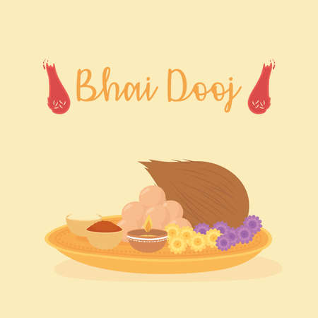 happy bhai dooj, food for festival celebrated by hindus vector illustration